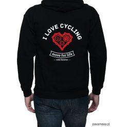 Bluza, dwustronny nadruk. I love cycling. Czarne bejsbolówki męskie Pakamera, m, z nadrukiem, z kapturem. Za 169,00 zł.