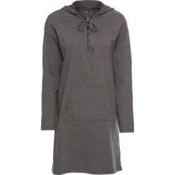Sukienka dresowa ze sznurowaniem bonprix antracytowy melanż. Szare sukienki dresowe marki bonprix, melanż, z kapturem, z długim rękawem, maxi. Za 109,99 zł.