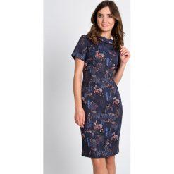 Sukienki: Granatowa ołówkowa sukienka  QUIOSQUE