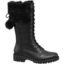 Kozaki damskie Highland Creek czarne. Czarne buty zimowe damskie marki Kazar, ze skóry, na wysokim obcasie. Za 179,90 zł.