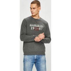 Napapijri - Bluza. Szare bluzy męskie rozpinane marki Napapijri, l, z nadrukiem, z bawełny, bez kaptura. W wyprzedaży za 299,90 zł.