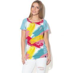 Colour Pleasure Koszulka damska CP-034  275 niebiesko-różowo-żółto-turkusowa r. XL-XXL. Fioletowe bluzki damskie marki Colour pleasure, uniwersalny. Za 70,35 zł.