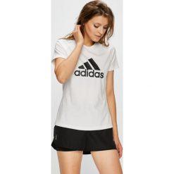 Adidas Performance - Top. Szare topy sportowe damskie adidas Performance, l, z nadrukiem, z dzianiny, z okrągłym kołnierzem. W wyprzedaży za 99,90 zł.