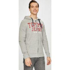 Tommy Jeans - Bluza. Szare bluzy męskie rozpinane Tommy Jeans, l, z nadrukiem, z bawełny, z kapturem. Za 399,90 zł.
