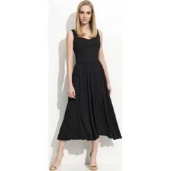 Długie sukienki: Czarna Sukienka Midi na Ramiączkach z Szerokim Dołem