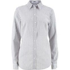 Bluzka, długi rękaw bonprix biel wełny - szary w paski. Białe bluzki longsleeves marki bonprix, w kropki, z wiskozy, biznesowe, z dekoltem w serek, moda ciążowa. Za 54,99 zł.