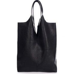 Shopper bag damskie: Skórzany shopper bag w kolorze czarnym - 40 x 37 x 7 cm