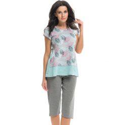 Piżamy damskie: Piżama w kolorze jasnoszarym - t-shirt, szorty