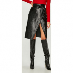 Answear - Spódnica. Szare spódniczki skórzane marki ANSWEAR, l, z podwyższonym stanem, midi, proste. Za 149,90 zł.