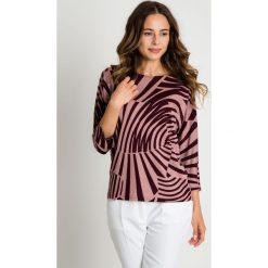 Bluzki asymetryczne: Bluzka z długim rękawem w kolorze brudnego różu BIALCON
