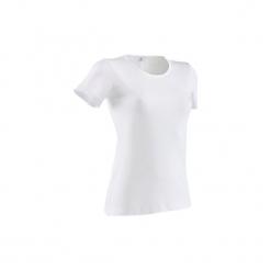 Koszulka krótki rękaw Gym & Pilates 100 Sportee damska. Białe bluzki sportowe damskie DOMYOS, xl, z bawełny. Za 9,99 zł.