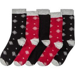 Skarpetki damskie: Skarpetki bożonarodzeniowe (5 par) bonprix czarno-ciemnoczerwony wzorzysty