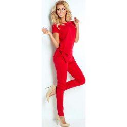 Kombinezony damskie: Czerwony Kombinezon Elegancki Wieczorowy