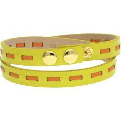 Bransoletki damskie: Skórzana bransoletka w kolorze żółto-pomarańczowym