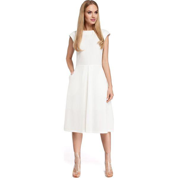 c7e8efa875 CINDERELLA Sukienka z kontrafałdą w spódnicy - ecru - Szare sukienki ...