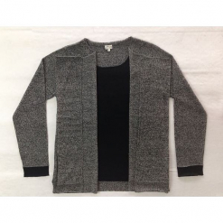 Sweter kaszmirowy 2w1 w kolorze szaro-czarnym. Czarne kardigany damskie marki Ateliers de la Maille, z kaszmiru. W wyprzedaży za 591,95 zł.