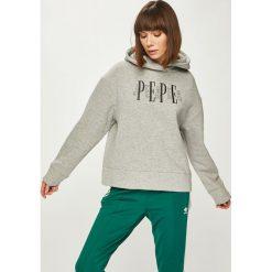 Pepe Jeans - Bluza. Szare bluzy z kapturem damskie Pepe Jeans, l, z aplikacjami, z bawełny. Za 299,90 zł.