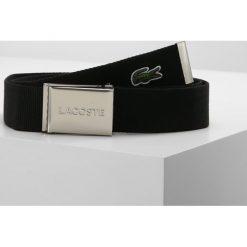 Lacoste BELT Pasek black. Czarne paski męskie Lacoste, w paski, z materiału, casualowe. Za 169,00 zł.