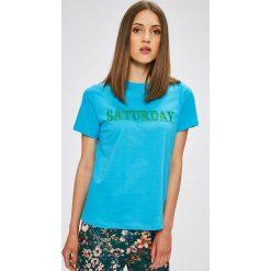 Trendyol - Top. Niebieskie topy damskie marki DOMYOS, z elastanu, street, z okrągłym kołnierzem. W wyprzedaży za 39,90 zł.
