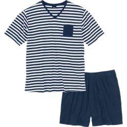 Piżama z krótkimi spodenkami bonprix ciemnoniebiesko-biały w paski. Białe piżamy męskie marki B'TWIN, m, z elastanu, z krótkim rękawem. Za 44,99 zł.