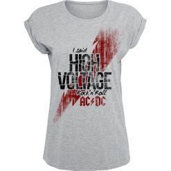 Bluzki asymetryczne: AC/DC High Voltage Koszulka damska szary (Heather Grey)