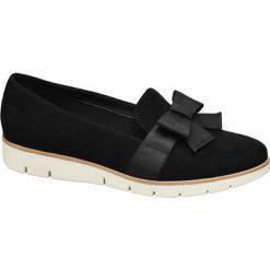 Mokasyny damskie Graceland czarne. Czarne mokasyny damskie marki Graceland, w kolorowe wzory, z materiału. Za 99,90 zł.
