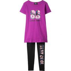 T-shirt + legginsy (2 części) bonprix czarny. Czarne legginsy dziewczęce marki bonprix, w paski, z dresówki. Za 54,99 zł.
