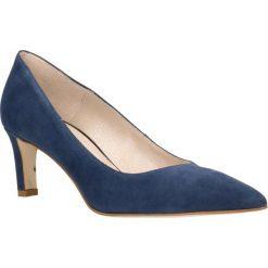 Czółenka RUMI. Niebieskie buty ślubne damskie Gino Rossi, ze skóry, na płaskiej podeszwie. Za 224,95 zł.
