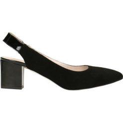 Czółenka CORNELIA. Czarne buty ślubne damskie Gino Rossi, ze skóry, z otwartym noskiem, na obcasie. Za 249,90 zł.