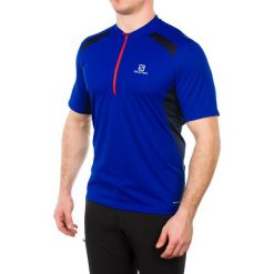 Salomon Koszulka męska Fast Wing Tee Blue Yonder czarno-niebieska r. XL (382746). Szare t-shirty męskie marki Salomon, z gore-texu, na sznurówki, outdoorowe, gore-tex. Za 133,74 zł.