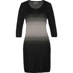 Sukienka dzianinowa bonprix czarno-kamienisty. Czarne sukienki dzianinowe marki bonprix, z okrągłym kołnierzem, dopasowane. Za 89,99 zł.