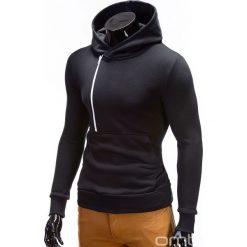 BLUZA MĘSKA Z KAPTUREM I NADRUKIEM DENIS - CZARNA. Czarne bluzy męskie rozpinane marki Ombre Clothing, m, z nadrukiem, z bawełny, z krótkim rękawem, krótkie, z kapturem. Za 79,00 zł.