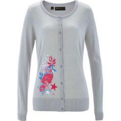 Sweter rozpinany bonprix jasnoszary melanż z kolorowym nadrukiem. Szare kardigany damskie marki bonprix, w kolorowe wzory. Za 59,99 zł.