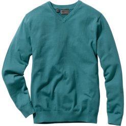 Swetry klasyczne męskie: Sweter z dekoltem w serek Regular Fit bonprix niebieskozielony morski