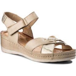 Rzymianki damskie: Sandały WASAK – 0473 Beż/Złoty