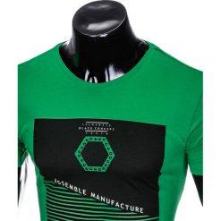 T-SHIRT MĘSKI Z NADRUKIEM S879 - ZIELONY. Czarne t-shirty męskie z nadrukiem marki Ombre Clothing, m, z bawełny, z kapturem. Za 29,00 zł.
