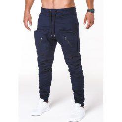 SPODNIE MĘSKIE JOGGERY P705 - GRANATOWE. Czarne joggery męskie marki Ombre Clothing, m, z bawełny, z kapturem. Za 89,00 zł.