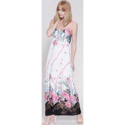 Sukienki: Biało-Fuksjowa Sukienka Powerful