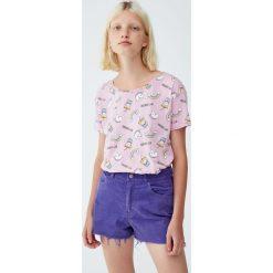 Koszulka w jednorożce. Szare t-shirty damskie Pull&Bear. Za 29,90 zł.