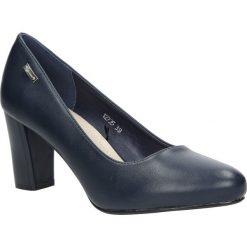 Granatowe czółenka na słupku Sergio Leone 12735. Czarne buty ślubne damskie marki Sergio Leone. Za 95,99 zł.