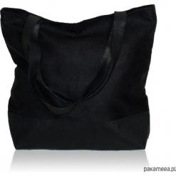 Duża czarna torba z zamszu ekologicznego. Czarne torebki klasyczne damskie marki Pakamera, duże. Za 179,00 zł.