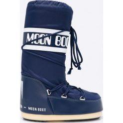Moon Boot - Śniegowce. Niebieskie śniegowce damskie marki Moon Boot, z materiału. Za 359,90 zł.