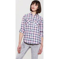 Koszula w kratę - Różowy. Szare koszule damskie marki House, l, z dzianiny. Za 39,99 zł.