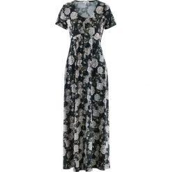 Sukienki: Długa sukienka z krótkim rękawem bonprix czarny w kwiaty