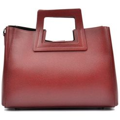 Torebki klasyczne damskie: Skórzana torebka w kolorze bordowym – (S)36 x (W)27 x (G)12 cm