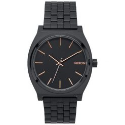 Zegarki damskie: Zegarek damski All Black Rose Gold Nixon Time Teller A0452957