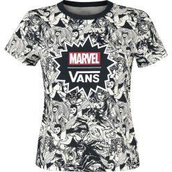 Vans Marvel Women Baby Tee Koszulka damska czarny/biały. Białe bluzki z odkrytymi ramionami marki Vans, s, z motywem z bajki, z okrągłym kołnierzem. Za 164,90 zł.