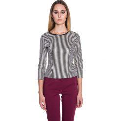 Elegancka dopasowana bluzka w paski BIALCON. Szare bluzki wizytowe marki BIALCON, w paski, eleganckie. W wyprzedaży za 60,00 zł.