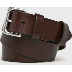 Polo Ralph Lauren - Pasek skórzany. Brązowe paski męskie marki Polo Ralph Lauren, w paski, z materiału. Za 259,90 zł.