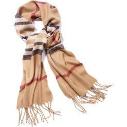 Wąski szalik w kratę bonprix brązowo-czarno-czerwony. Brązowe szaliki damskie bonprix. Za 42,99 zł.